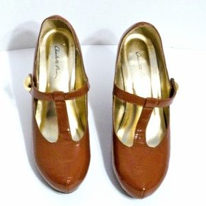 "Charlotte Russe Shoes - ""Ashley"" *Brown Strap Heels * Gold Detail*Sz 8"